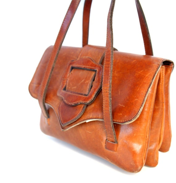 Tammy, French Vintage, Small Tan Leather Satchel, 1970s Handbag from Paris