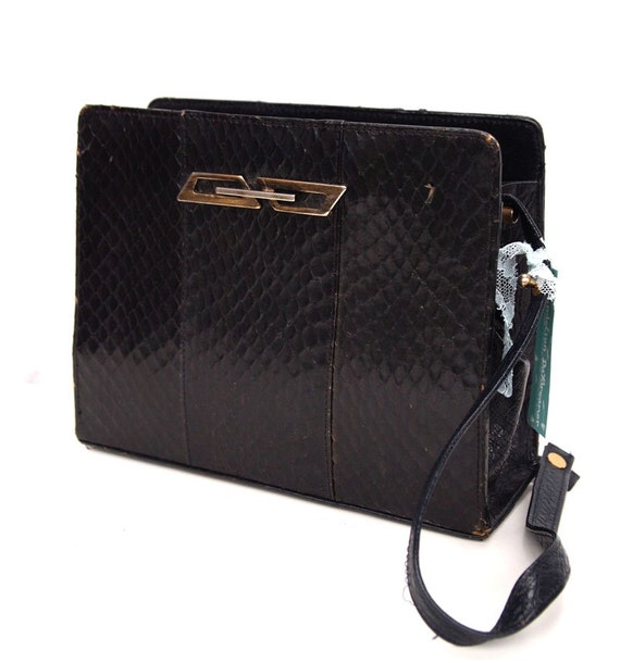 Serpentine, French Vintage, Black Leather Snakeskin, 1950s, Mad Men Style, Handbag from Paris
