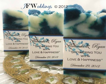 40 Vegan SOAP Favors ~ Bridal ~ Wedding ~ Scented in Wild Raspberry and Blue Blossom Labels or Your Own Custom Designs ~ Handmade in 7 days