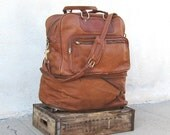 Vintage Large Expandable Tan Leather Roller Travel Tote Bag w/Shoulder Bag