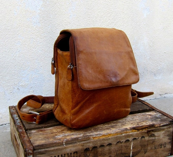 VIntage Distressed Tan Leather Backpack Purse by Tignanello