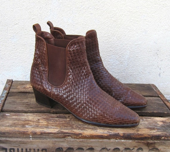 Vintage Brown Woven Leather Chelsea Booties by Cole Haan Ladies Size 9