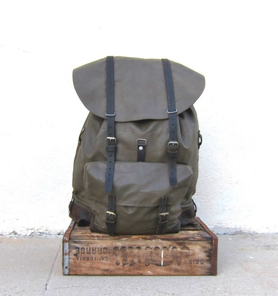 Vintage Giant Waxed Canvas Military Metal Frame Canvas and Leather Rucksack Backpack