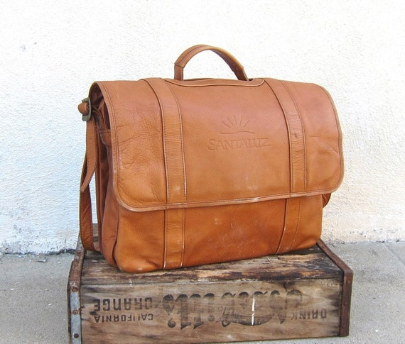 Vintage Distressed Tan Leather Messenger Satchel Bag