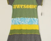 Recycled T Shirt Girl's Dress - Size 7/8- Awesome