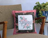 Arkansas apple-blossom pillow, cabin, cottage, farmhouse decor with vintage hand-embroidery -- a keepsake gift. Includes pillow form.