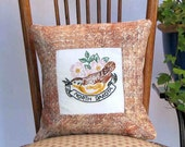 North Dakota state-bird pillow, cabin, cottage, farmhouse decor with vintage hand-embroidery -- a keepsake gift. Includes pillow form.