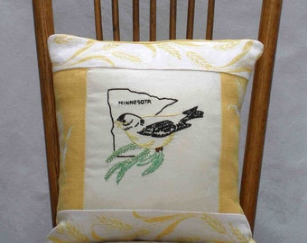 Minnesota pillow, dorm decor, cabin, cottage, vintage hand-embroidered -- a keepsake gift. Includes pillow form.