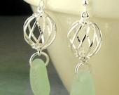 Aqua Sea Glass Earrings Eco Friendly