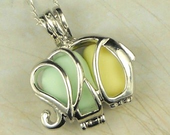 Elephant Jewelry Elephant Locket Necklace Good Luck Pendant Genuine Sea Glass Green And Yellow Milk Glass In Silver