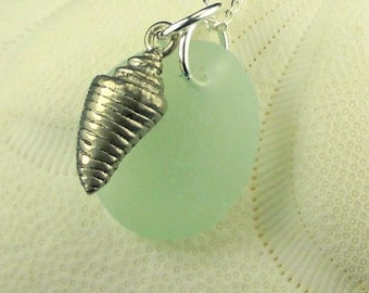 Sea Glass Pendant Necklace Aqua Pewter Conch Shell Jewelry