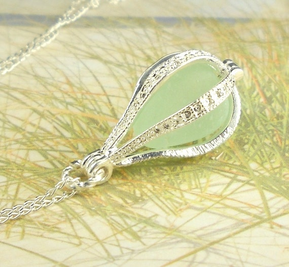 GENUINE Sea Foam Sea Glass Pendant Teardrop  Locket