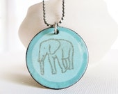 SALE - Enamel Pendant Necklace - Elephant Print Robin Egg Blue Pendant Sterling Silver Necklace