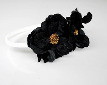 black velvet flower headband for women and girls: liz