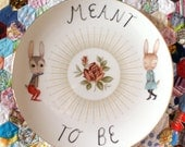 Meant To Be Bunnies Large Vintage Illustrated Plate