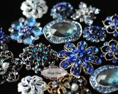 10pc Blue Assorted Rhinestone Flat back Embellishments DIY Brooches Crystal Wedding Bouquet Favors Buttons Bling