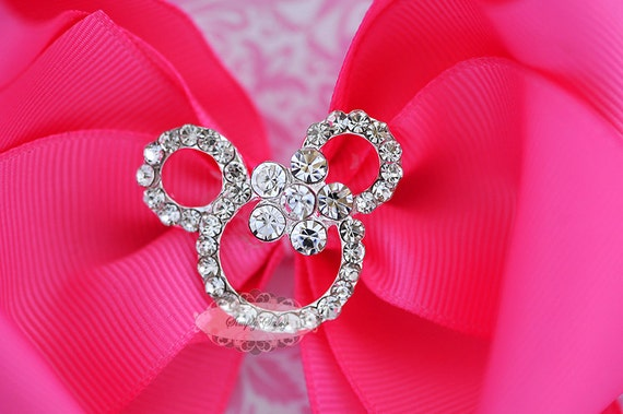 3 pcs CLEAR Rhinestone Crystal Bling Mouse Flatback Metal Embellishment Add to Hair Bows Minnie Clips Accessories Invitations Frames