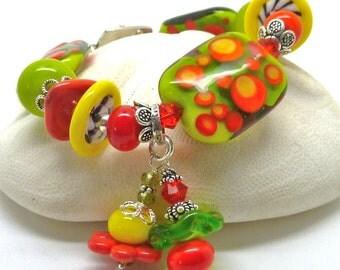 Lampwork Bracelet POPPY EXTRAVAGANZA