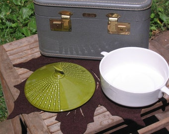 Vintage Covered Avocado Green Bamboo Casserole Dish USA Pottery 64-N