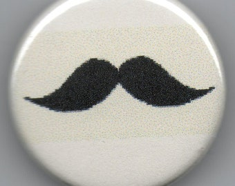 Moustache 1.25 inch Pinback Button  Vintage Illustration