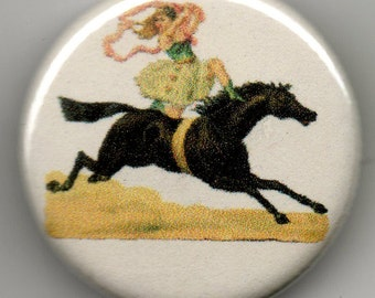 Circus Rider on Horse, 1.25 inch BUTTON/PIN/BADGE Vintage Image