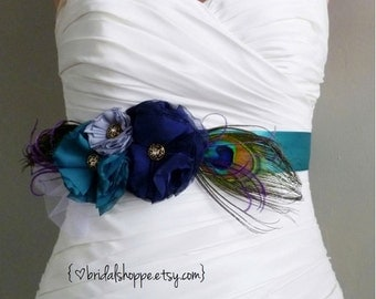 Teal Bridal Sash, Navy Grey Bridal Sash, Peacock Wedding Sash Belt Flower Bridal Sash, Grey Bridal Sash Gray Bridal Belt, Gray Wedding lucky