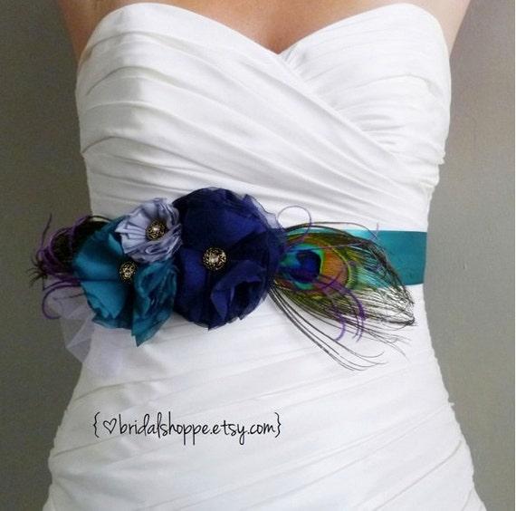 Teal Bridal Sash, Navy Grey Bridal Sash, Peacock Wedding Sash Belt Flower Bridal Sash, Grey Bridal Sash Gray Bridal Belt, Gray Wedding lucky
