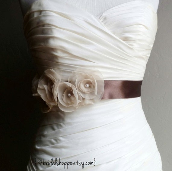 RTS SALE - Ready to Ship and On Sale - PEARL - Vintage Ivory on Chocolate Bridal Sash