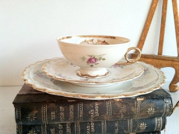 Sale - ROYAL HANOVER Porcelain Bavaria Germany HMS Tea // Roses //Vintage China Set // Cottage Chic // Pink Roses