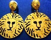 SALE //23 DOLLARS// Gold Earrings- Lion Earrings- Anne Klein Earrings- Post Earrings