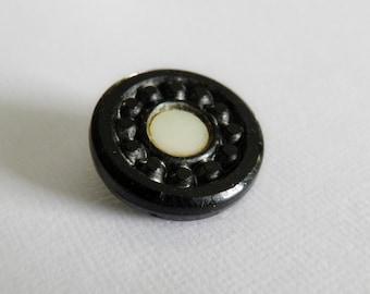 Victorian Black Glass MOP Inlaid Button