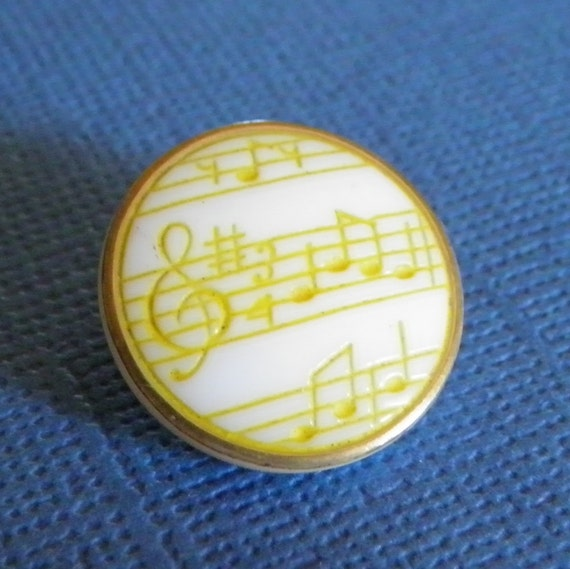 Vintage Musical Notes Glass Button