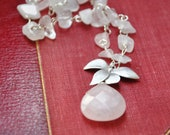 Pink necklace pink quartz light sterling silver and orchid