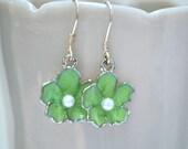 Sakura Earrings Green cherry blossom sterling silver