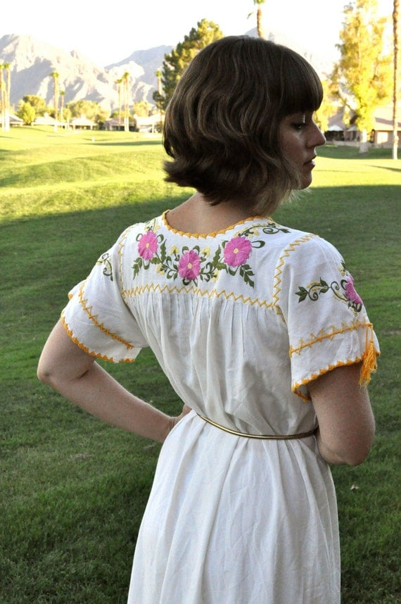 Long White Embroidered Puebla Dress 70s