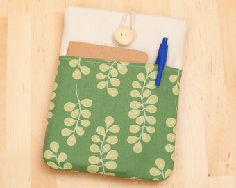 kindle fire HD 6 case / kindle paperwhite case / kobo aura HD case  / kobo glo case / kobo touch case - flowers in green with pockets --