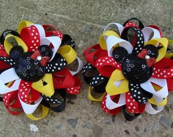 2 Hair Bows Mickey Mouse Hair Bow Minnie Mouse Hair Bow Loopy Flower Hair Bow
