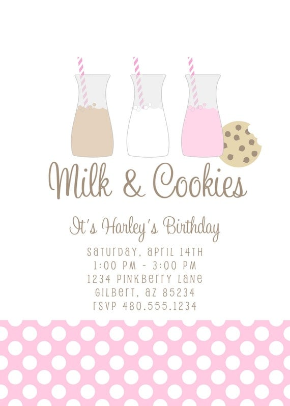 Party Printables Invitation - Milk and Cookies Invitation Birthday or Baby Shower - Fresh Chick Designs
