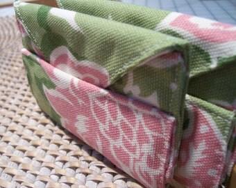 Sale Business Card Gift Envelope Wallet Storage Organizer Green Pink Floral Cotton Fabric Stocking Stuffer
