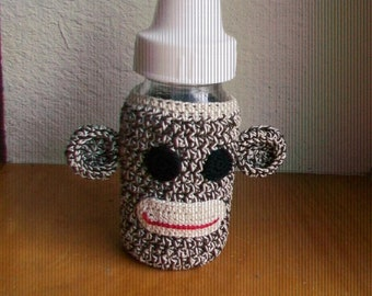 Sock Monkey baby bottle cover (small size)