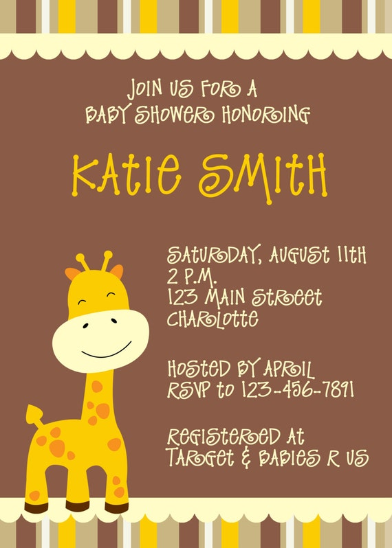 giraffe baby shower invitation jungle animal baby shower invitation