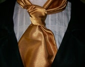 SALE--Day Ascot,Cravat, Mens Neck Tie In a Harvest Gold Satin Polyester