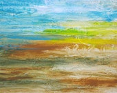 """Original ABSTRACT landscape  painting 8""""x10"""" blue brown yellow  textured by devikasart on Etsy"""