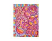 "PAISLEY painting-Original abstract art -8""x10"" magenta blue orange"