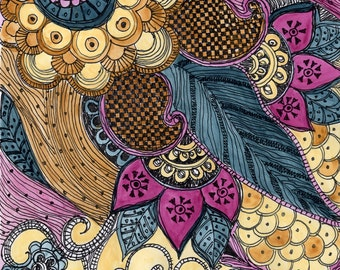 "Fine Art Print PAISLEY - blue magenta ochre reproduction 8""x10"""