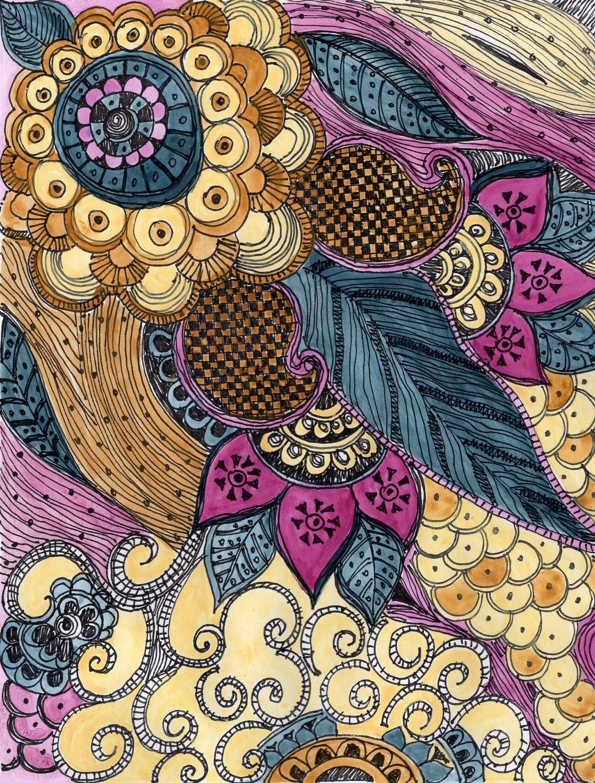 Fine Art Print Paisley Blue Magenta Ochre Reproduction