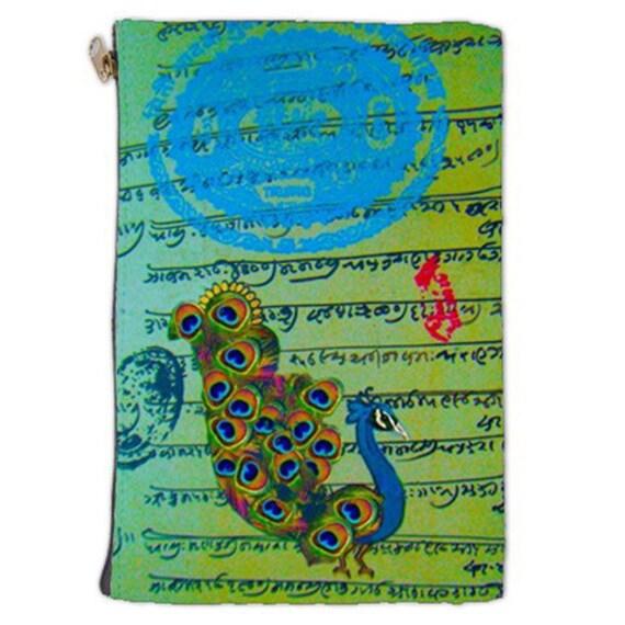 Cosmetic Bag, Peacock, Hindu cosmetic makeup bag, makeup Cosmetic bag, bags and purses, cosmetic makeup pouch, zipper bag, NirvanaRoad