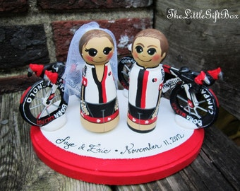 Wedding Cake Topper / Custom Painted Wood Peg Dolls with Base and 2 large custom sculpted clay items