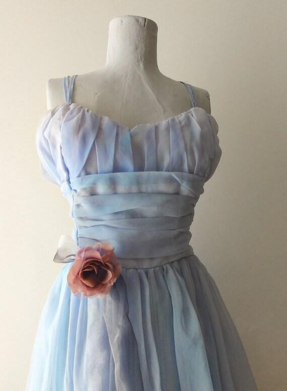 Vintage Pale Blue 1950s Chiffon Prom Party Dress Medium