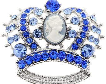 Sapphire Cameo Crown Pin Brooch 1001622